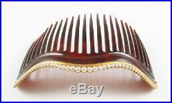14K Gold Victorian Art Nouveau Faux Tortoise Shell Pearl Motif Hair Comb Set