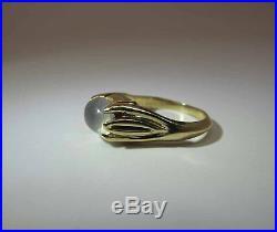 14K Yellow Gold 2.6 Carat Moonstone Ring With Organic Art Nouveau Setting