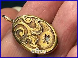 14k Yellow Rose Gold Art Nouveau Pendant w Gypsy-Set Diamond. 1-K5L7J