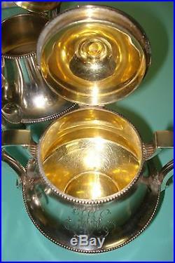 1588g Sterling silver Russian ART NOUVEAU Faberge Stefan Wakeva gilt Tea set