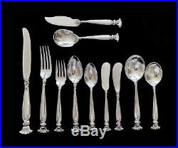 16 place settings 126 piece Romance of The Sea Wallace Sterling Silver Flatware