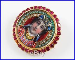 18K Gold Art Nouveau Circular Enamel & Gem Set Portrait Brooch Pendant