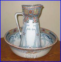 1903 Royal Doulton Aubrey Art Nouveau Wash Basin Bowl & Pitcher Jug Set LARGE