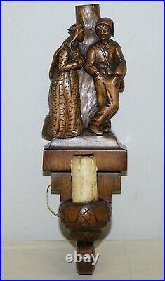 1934 Hand Carved Set Of Asbjornsen And Moe Norway Fairy Tale Wall Sconces Lights