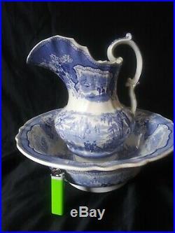 19c ADAMS Transferware Wash PALESTINE Pitcher Bowl Set. BLUE WHITE ANTIQUE