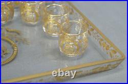 19th Century Baccarat Lerosey Gold Monogrammed Birds & Floral Gilt Liquor Set