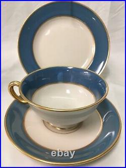(21) 1906-1930 Rare Blue LENOX Footed TEA/DESSERT SET -Gold Trim #046D