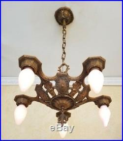 298b Vintage Antique 20s 30s Ceiling Light aRT Nouveau Chandelier SET pair