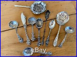 2 Sterling Silver POPPY Figural Floral Spoon & Ladle Paye Baker Nouveau NO MONO
