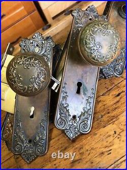 3 Antique Art Nouveau Bronze Architectural Salvage Doorknob Sets, Escutcheons