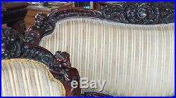 3 Piece Victorian Art Nouveau Figural Parlor Set Karpen Horner