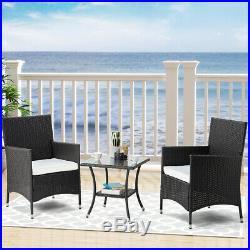 3pcs outdoor indoor Rattan Furniture set PE Wicker Conversation Table Chairs Set