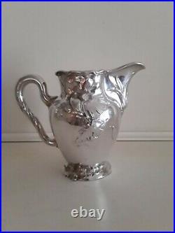 4 pcs LAZARUS POSEN Antique 800 Silver Tea Set sterling Judaica Art Nouveau