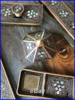 5 Piece Antique Desk Set Tiffany Studios New York 1910 Bronze & Abalone