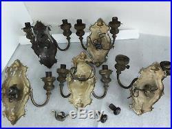 5 original antique Art Nouveau electric Wall Sconce Light Fixtures vtg. Rare set