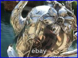 5p OLD GERMAN COIN SILVER TEA COFFEE SET TRAY ART NOUVEAU POSEN JUDAICA sterling