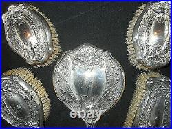 5pc. Antique Sterling Silver Art Nouveau Dresser Set Floral Pattern