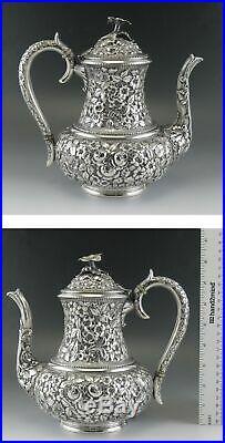 5pc Antique c1890 Baltimore Sterling Silver Flower Repousse Tea/Coffee Set
