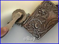 6 pc SET Sterling Silver Mistletoe Chatelaine Pill Box Pencil Locket XMAS Murat