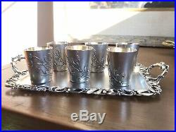 7 pc SET MISTLETOE Sterling Silver French Nouveau Floral MURAT Cordial Cups Tray