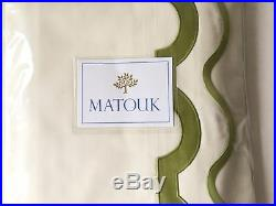 $895 Art Nouveau Vintage Matouk Mirasol Queen Sheet Set Scallop Embroidery Italy