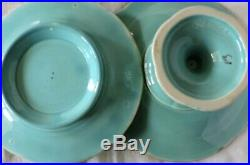 8 pc French Majolica Dessert Set Sarreguemines Plate Compote with Strawberries