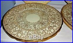 9 H & Co HEINRICH SELB BAVARIA Gold Encrusted Filligree Dinner Plates Set NINE
