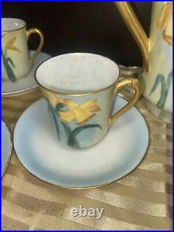 ANTIQUE HAVILAND LIMOGES CHOCOLATE COFFEE TEA SET, 6 CUPS 7 Plates HAND PAINTED