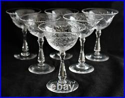 ANTIQUE SET 6 STEUBEN CARDER ERA 7046 shape GARFIELD pattern champagne sherbets