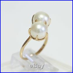 ART DECO 14K GOLD & DUAL PEARL in CLAW SETTING RING, 4.9 grams, size 6, EXC