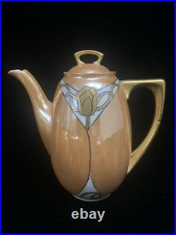 ART NOUVEAU COFFEE TEA SET 15pc LA SEYNIE LIMOGES P&P FRANCE Hand Painted Orange