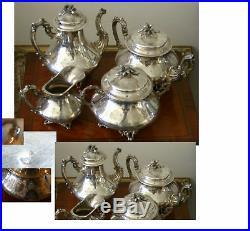 ART NOUVEAU FRENCH 950 STERLING 4Pc TEA & COFFEE SET BY DEBAIN, 72 OUNCES ELEGANT