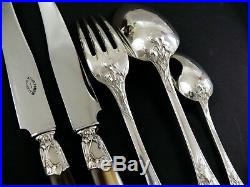 ART NOUVEAU Iris 1900s ANTIQUE FRENCH STERLING SILVER DINNER SET FLATWARE 24 Pcs