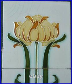 Alfred Meakin Antique Art Nouveau Majolica 2 Tiles Set C1900
