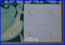 Alfred Meakin Antique Art Nouveau Majolica 4 Tile Set C1900