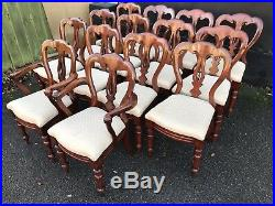Amazing set of 14 Antique Victorian Balloon back dining chairs French Polished
