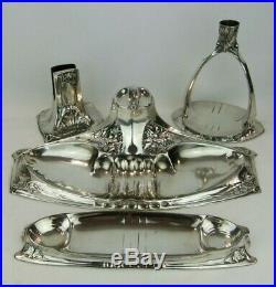 An Outstanding Art Nouveau Silver on Pewter Desk Set-WMF/ Kayserzinn. Circa 1905