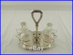 Antico Raro Set Oliera Art Nouveau In Argento 800 Solid Silver Cristallo Molato