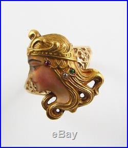 Antique 14k Gold Art Nouveau Enamel & Gem Set Byzantine Lady Ring Size 5.5