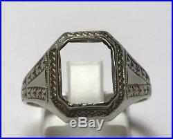 Antique 14k White Gold Art Deco Cushion Emerald Cut Stone Setting Ring Sz 10