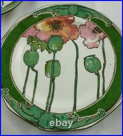 Antique 1921 Royal Doulton Art Nouveau Red Poppies Salad Plates Set of 6 (B8)