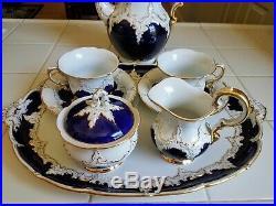 Antique (1952) MEISSEN Cobalt & Gold Coffee Set 10 piece with Tray Stunning