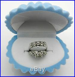 Antique Art Deco 14K White Gold Diamond Engagement 0.48tcw Ring Wedding Band Set