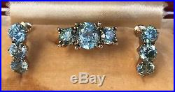 Antique Art Deco Edwardian 10k Rose Gold Blue Zircon Ring & Earrings Set