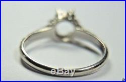 Antique Art Deco Mounting Setting Hold 6.5MM 14K White Gold Ring Size 5 UK-J1/2