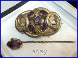 Antique Art Deco Nouveau Victorian Rolled Gold Amethyst Jeweled Snake Brooch Set