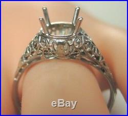 Antique Art Deco Setting Mounting 18K White Gold Hold 7-8.5MM Ring Sz 9.25 UK-S