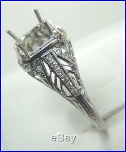 Antique Art Deco Vintage Setting Mounting Ring 18K White Gold Hold 6.5-7MM Fine