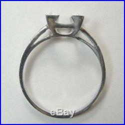 Antique Art Deco Vintage Setting Mounting Ring Engagement Platinum Hold 7.5-8MM