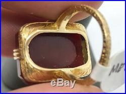Antique Art Nouveau 14K Gold Carved Floral Carnelian Decorative Setting Ring